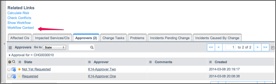 how to get current workflow state servicenow change reuest